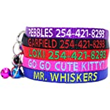 Personalized Embroidered Nylon Cat Collar Break Away With Bell - Custom Text With Pet Name and Phone Number - Multiple Thread Colors and Sizes