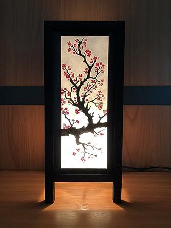 Oriental Cherry Blossom Tree Art Bedside Floor Table Lamp Desk Paper