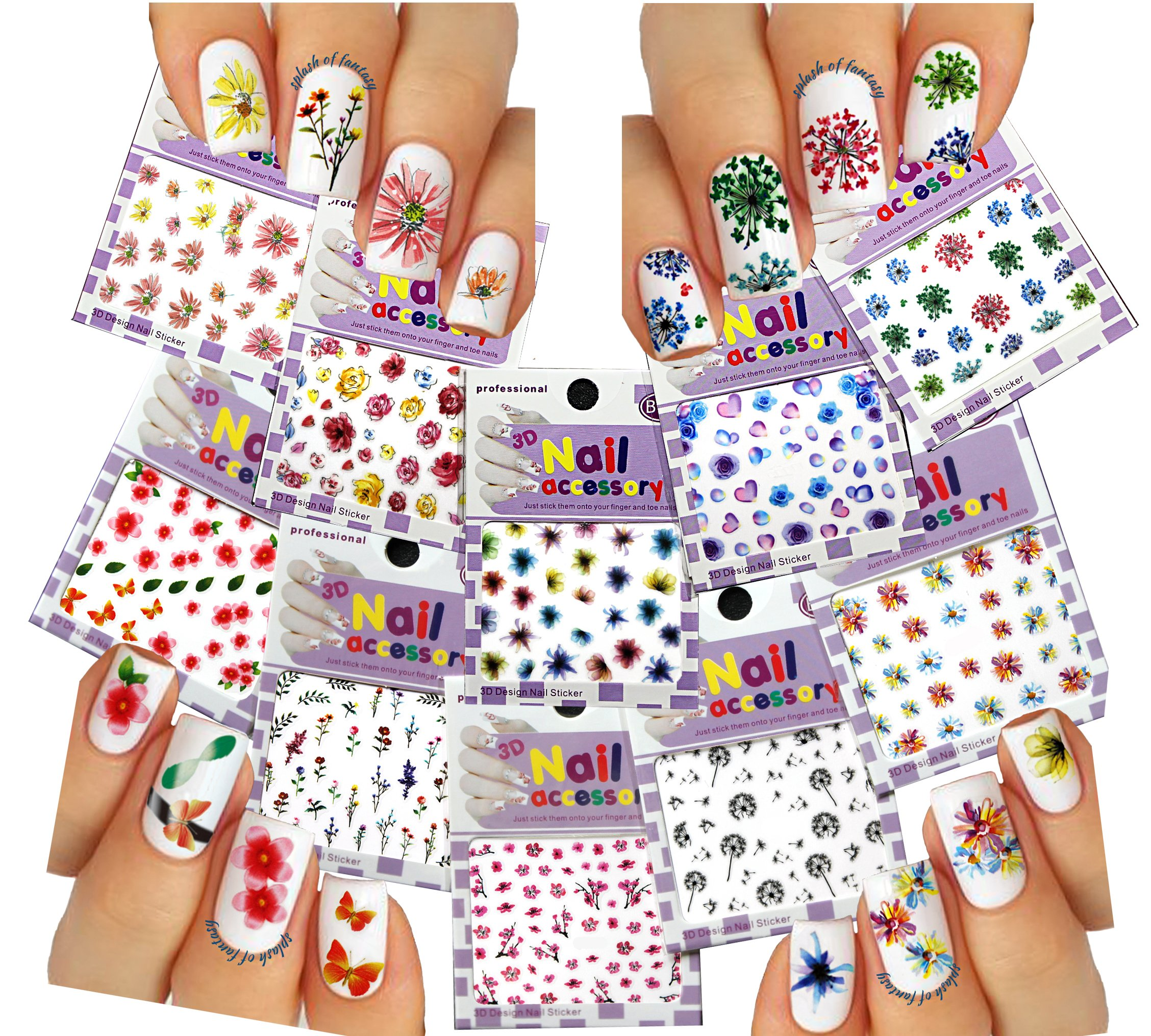 Amazon.com: Nail Art 3D Stickers ♥ Colorful Flower Collection of 10 ...