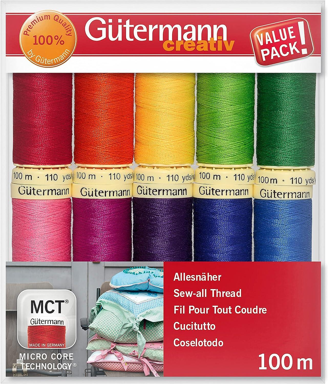 Gutermann Sew-Tous les 100/% Polyester Thread 100 M Main et Machine Noir et Blanc