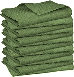 Elvana Home 12 Pack Waffle Kitchen Dish Towels 100% Cotton 16x26, Dish Cloths, Tea Towels, Bar Towels, Durable Machine Washable Highly Absorbent Kitchen Towels with Hanging Loop, Green