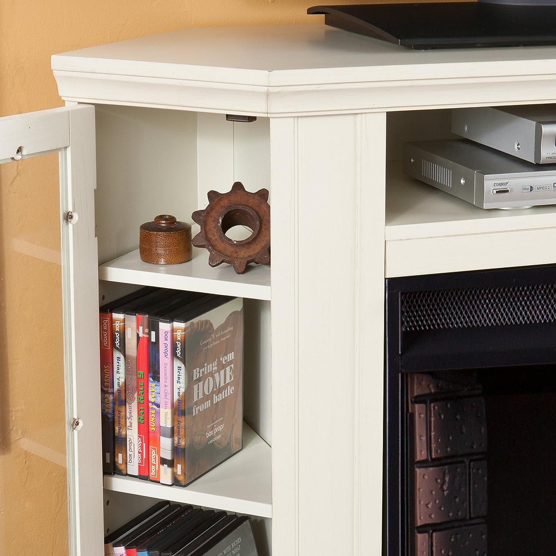 Amazon.com: Claremont Convertible Media Electric Fireplace - Ivory ...