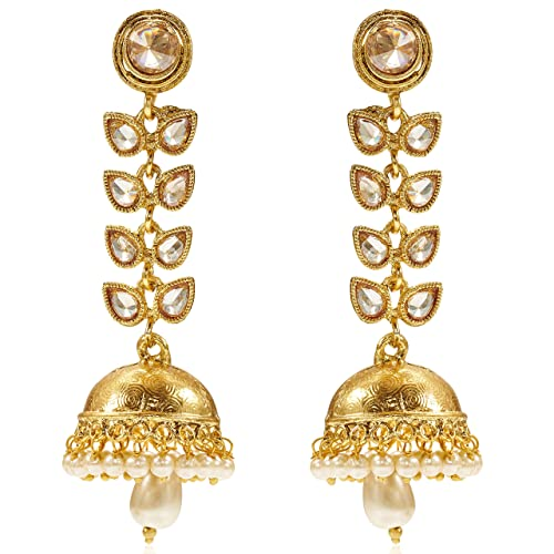 f1810d891 Buy Peora 18K Gold Plated Traditional Jewellery Pearl Crystal Leaf Golden  Jhumkis Jhumka Earrings For Women Girls Online at Low Prices in India |  Amazon ...