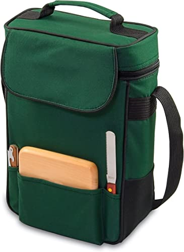 Picnic Time Duet Insulated Wine and Cheese Tote, Hunter Green