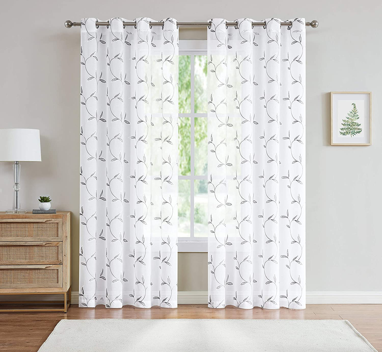 Linenzone Maria Embroidered Semi Sheer Curtains With Grommets 54 X 96 Inch Each Panel Total Size 108 Wide 2 Panels 54 W X 96 L White Charcoal Everything Else