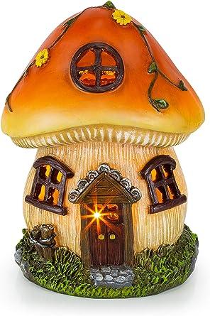 Solar Powered Gnome Fairy House LED Garden Light Outdoor Ornament