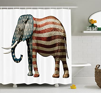 Amazon Ambesonne American Shower Curtain By Elephant Painted