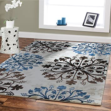 Premium Soft Rugs For Living Room Luxury 5x8 Cream Blue Brown Black Area  Rugs Modern Rug