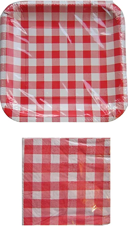 Red and White Checkered Gingham Square Paper Plates and Napkin Set  sc 1 st  Amazon.com & Amazon.com : Red and White Checkered Gingham Square Paper Plates and ...
