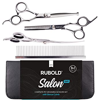 RUBOLD Professional Dog Grooming Scissors Set - Stainless Steel Rounded Tip Sharp Durable Shears