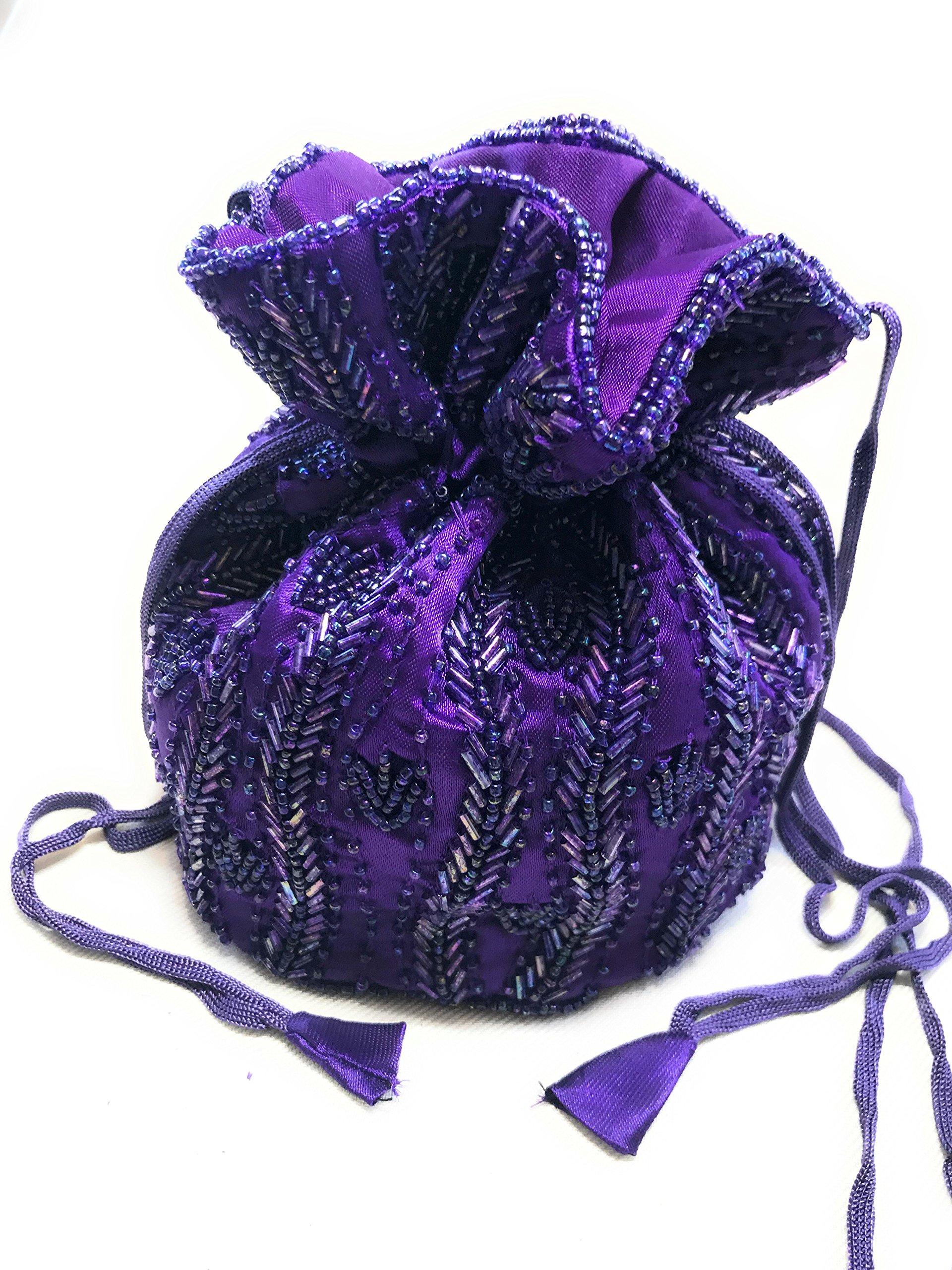Beaded Potli Bag Handmade Indian Party Wedding Drawstring Pouch Purse (purple)