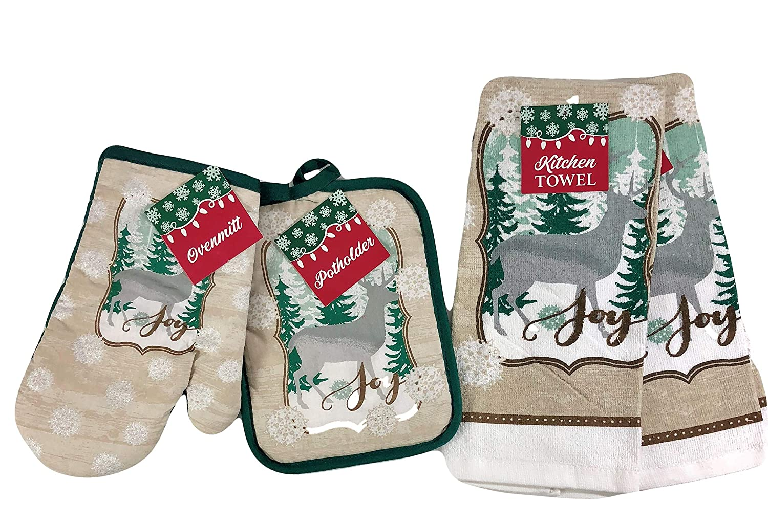 Christmas Joy Kitchen Dish Towels Potholder Oven Mitt Snowy Forest 4 Piece Set
