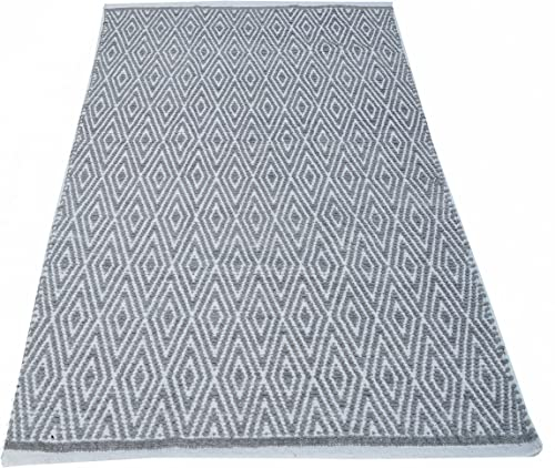 Chardin home 100 Cotton Diamond Area Rug Fully Reversible, Size – 3 x5 , Machine Washable, Light Grey and White