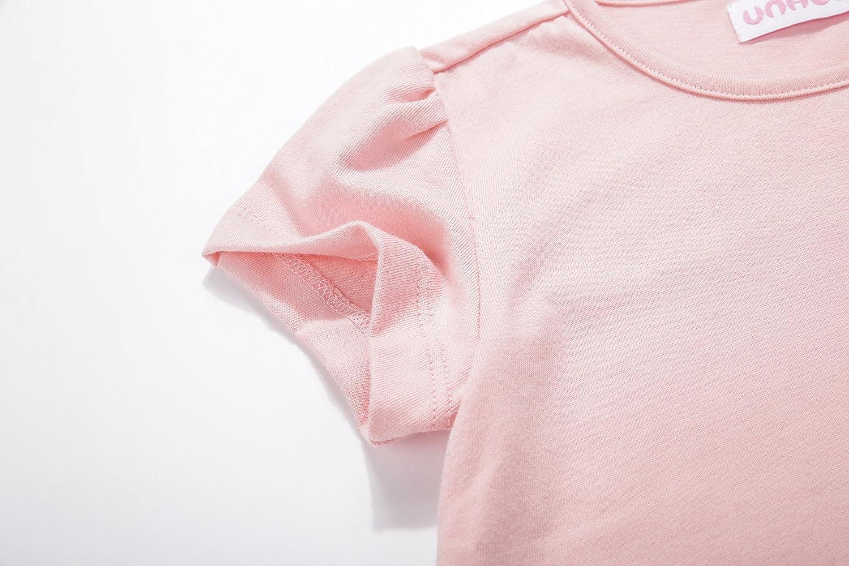 UNACOO Toddler Girls Round Neck Basic T-Shirt Classic Short Sleeve Jersey Tee Packs
