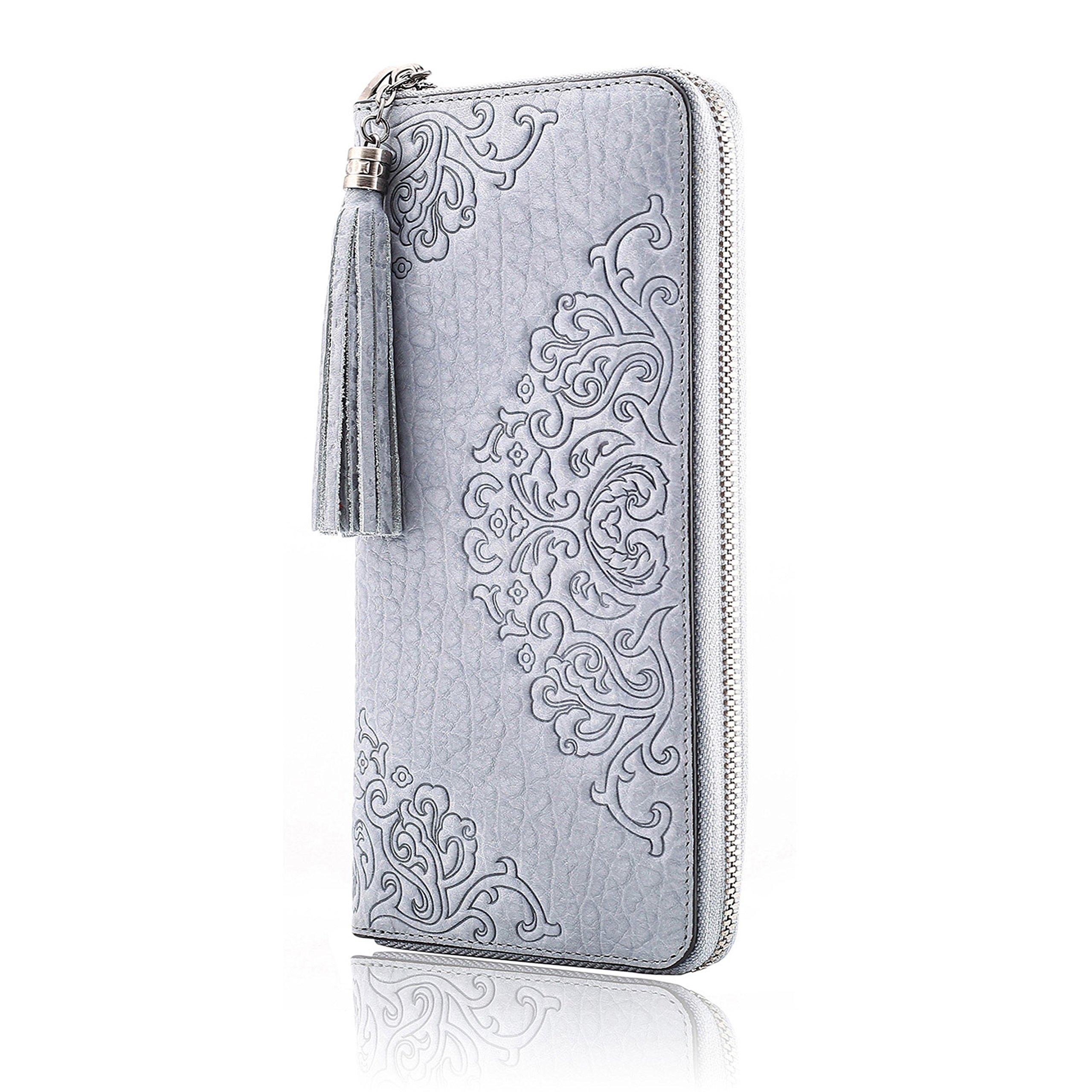 Naisibao Womens Embossed Floral Wallet Designer Handmade Genuine Leather Zip Around Long Clutch Wristlet Card Holder Purse