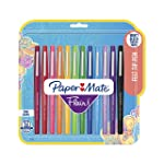 Paper Mate Flair Point Guard Marker Porous, Nylon Tip Pen Medium, 12-Carded, Assorted Inks (74423)