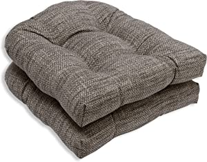 """Pillow Perfect Outdoor/Indoor Remi Patina Tufted Seat Cushions (Round Back), 19"""" x 19"""", Gray, 2 Count"""