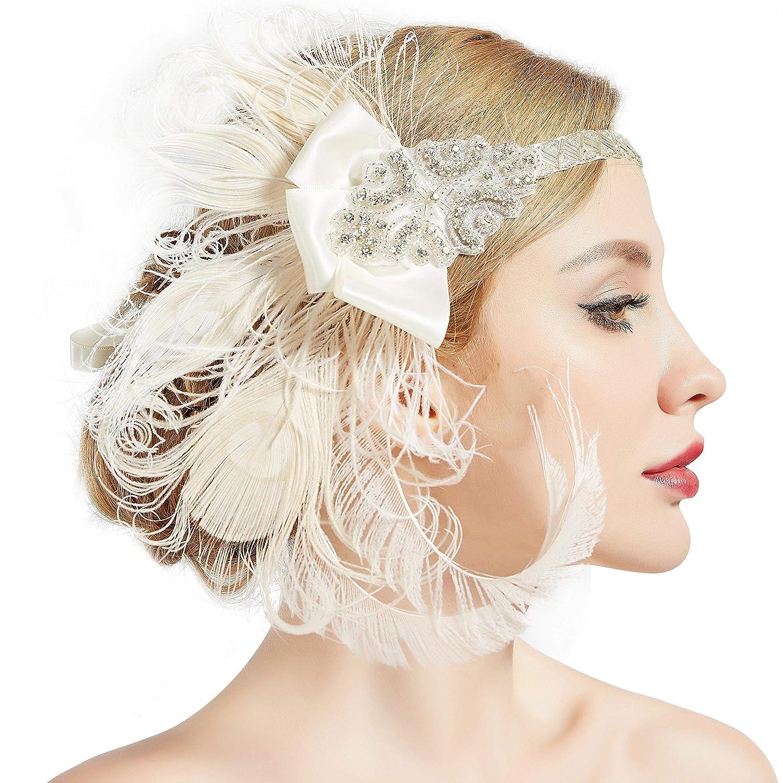Bandeau Gatsby, Coucoland Headband Cristal 1920s Bandeau Plume Gatsby Flapper Accessoires Charleston Bandeau Année 20 Vintage Partie à Thème (Or)