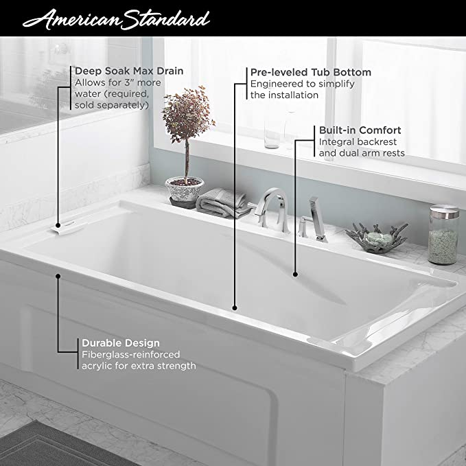 American Standard 2422v002 011 Evolution 5 Ft X 32 In Deep Soaking Tub With Reversible Drain Arctic Drop In Bathtubs Amazon Com