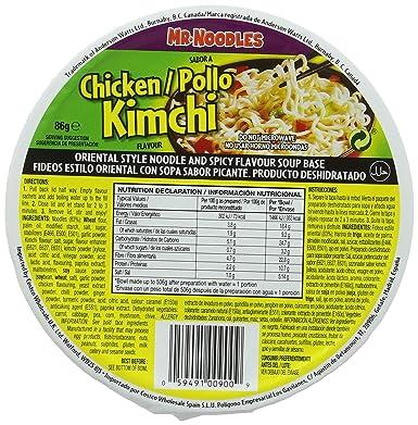 mr noodles chicken kimchi 12 x 86g amazon co uk grocery