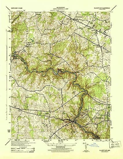 Amazon.com: YellowMaps Ellicott City MD topo map, 1:31680 Scale, 7.5 on