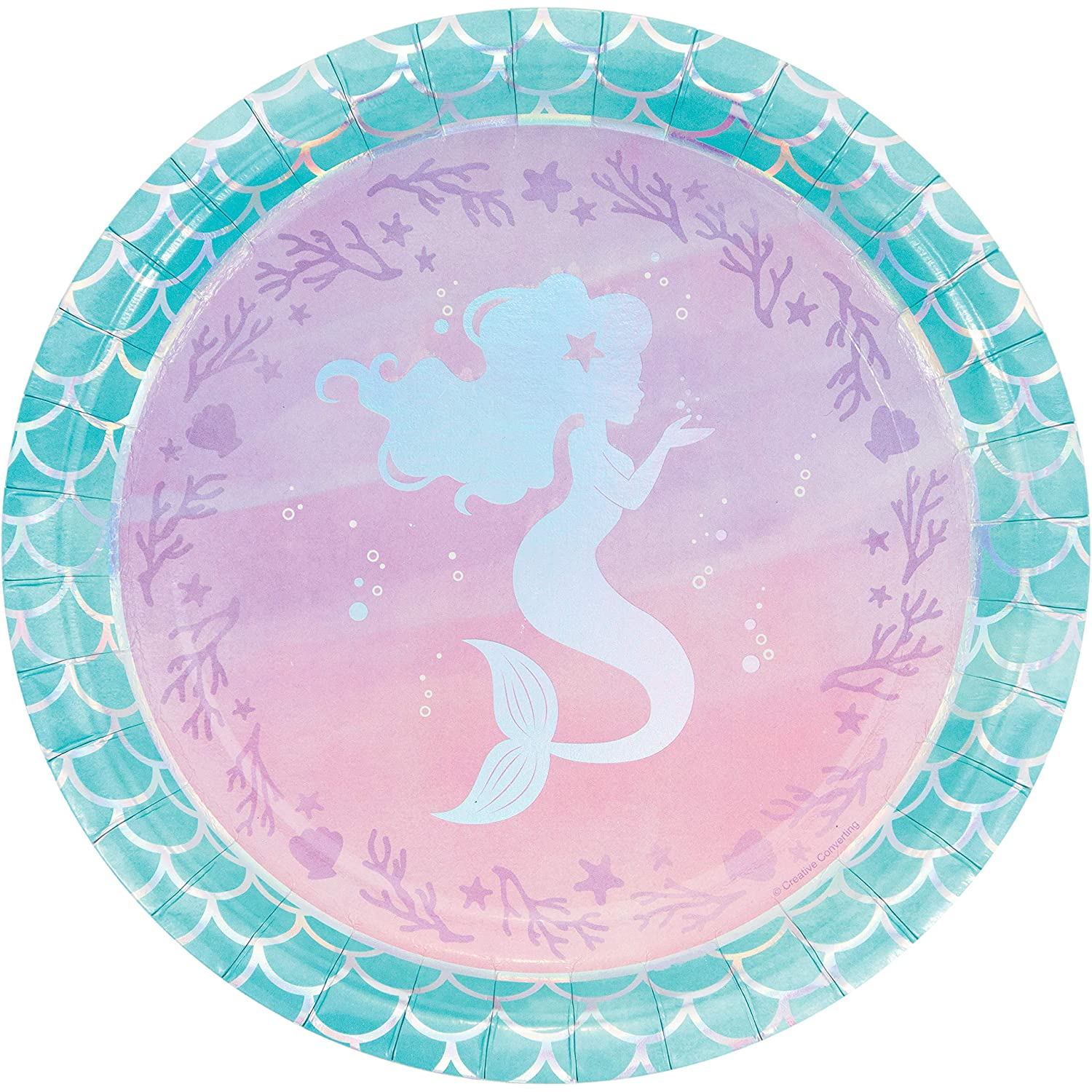 Amazon.com: Iridescent Mermaid Party Paper Plates, 24 ct: Toys \u0026 Games