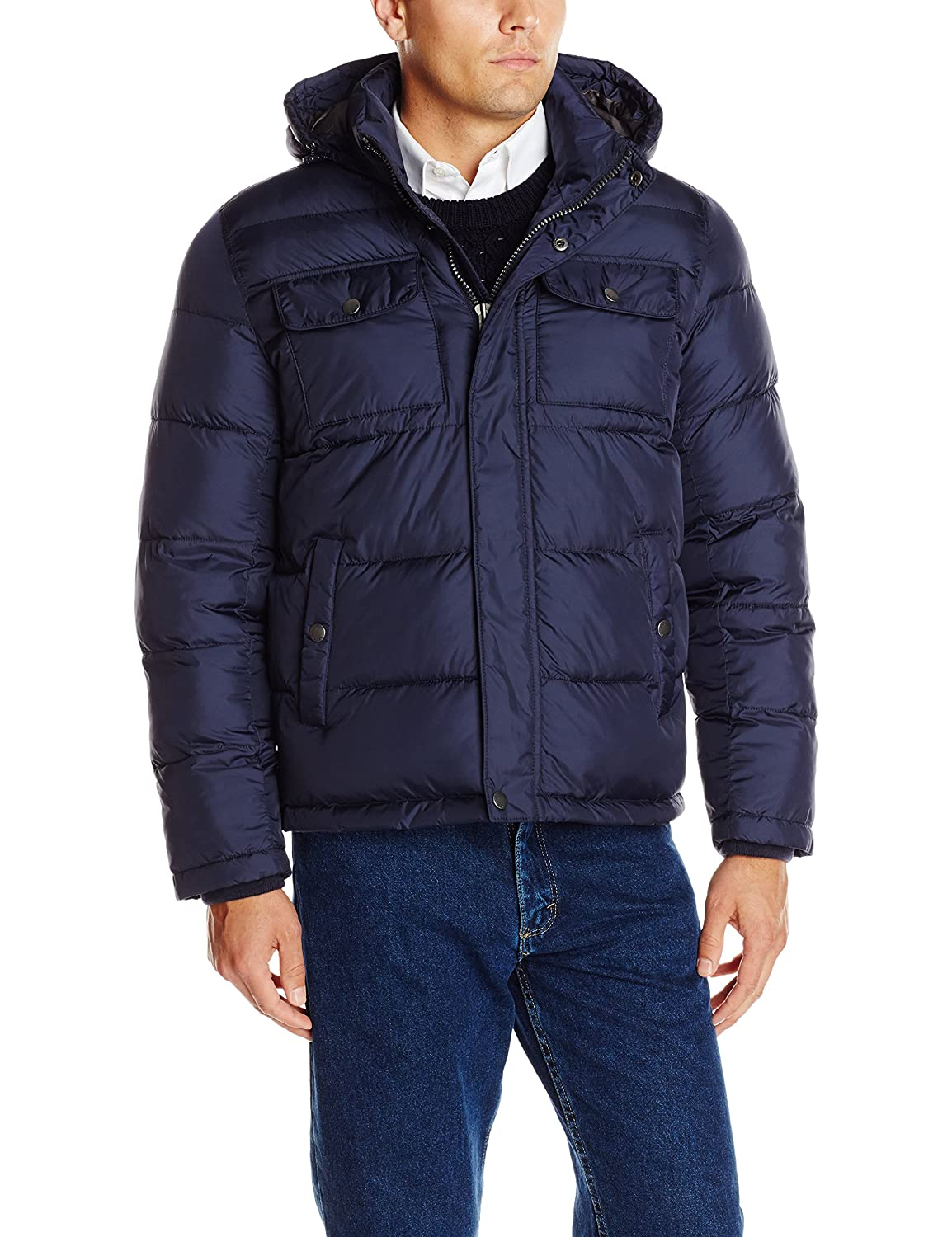 Tommy Hilfiger Men's Nylon Two Pocket Hoody Puffer Tommy Hilfiger Mens Outerwear 155AN224