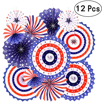 Independence Day Party Hanging Paper Fans Decorations National Patriotic American Theme Birthday 4th