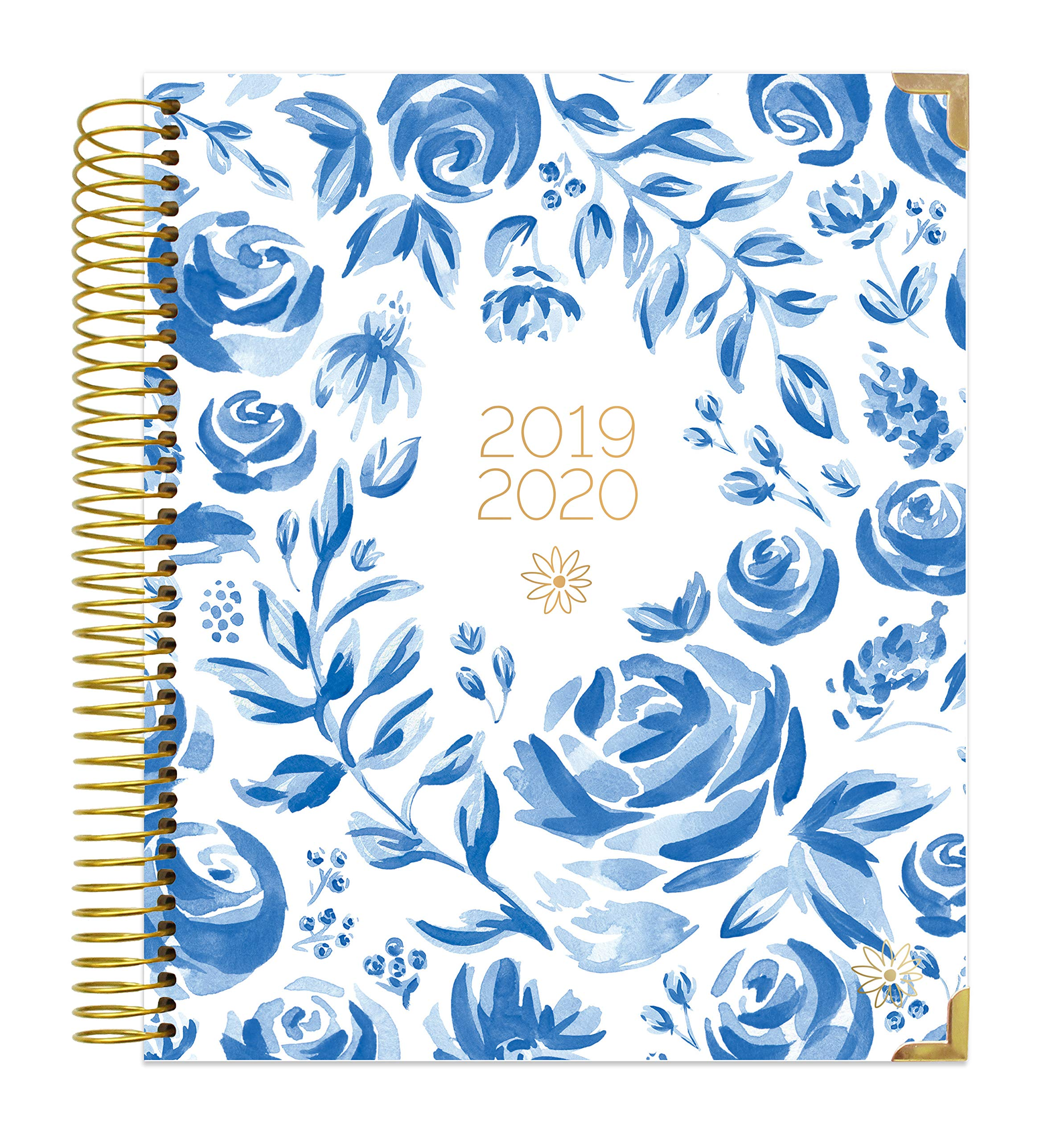 bloom daily planners 2019-2020 Hardcover Academic Year Vision Planner (August 2019 - July 2020) - Monthly and Weekly Column View Calendar Organizer - 7.5'' x 9'' - Blue & White Floral