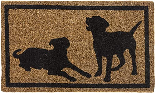 Entryways Dog Silhouettes , Hand-Stenciled, All-Natural Coconut Fiber Coir Doormat 18 X 30 x .75
