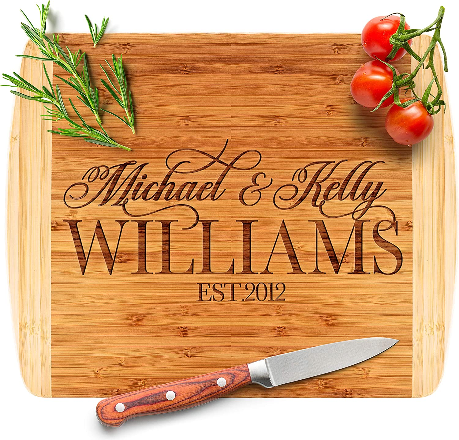 An image of a personalized bamboo chopping board with knife and tomatoes as decorations.