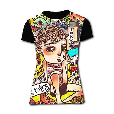 b201cd7c Cartoon Doodle Cute Boy 3D Graphic Fashion Printed Women's T-Shirts Stylish  Casual Short Sleeve