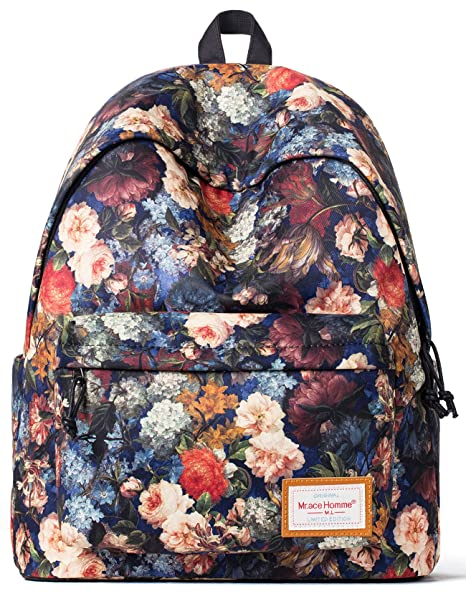 0b3653ce1a Amazon.com  Forestfish Women Girls Backpack Daypack School Bookbag Outdoor  Travel Backpack with Shockproof Lightweight Laptop Backpack  Floral Print  Bag  ...