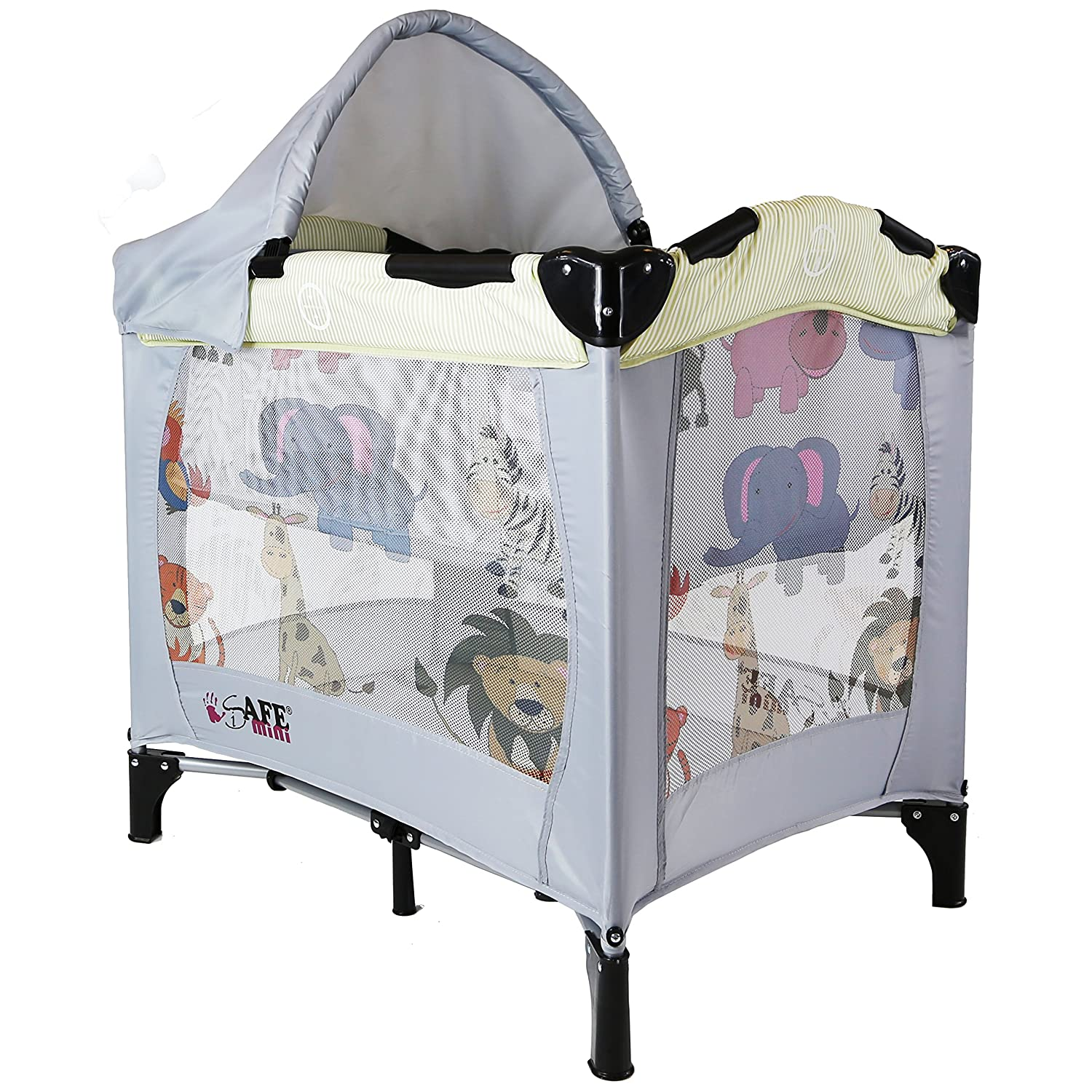 iSafe Mini Travel Cot With Bassinet And Canopy - Smiley And Cuddly 81 x 56 x 84 cm