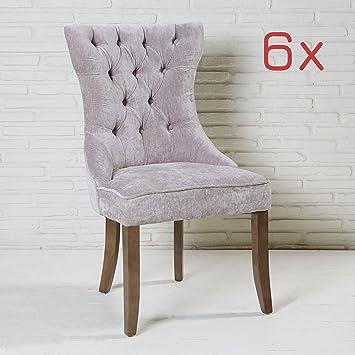 77a235e6bc95e2 Wholesaler GmbH 6er Set Esszimmerstuhl grau mit Samtbezug und Holzbeinen  Knöpfe Polsterstuhl
