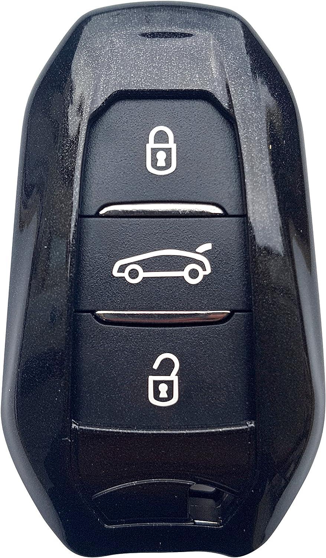 kwmobile Accessoire Cl/é de Voiture Compatible avec Clef de Voiture Smartkey Coque de Protection Souple en Silicone Bande de Couleur Bleu-Noir Peugeot Citroen 3-Bouton Keyless Go Uniquement