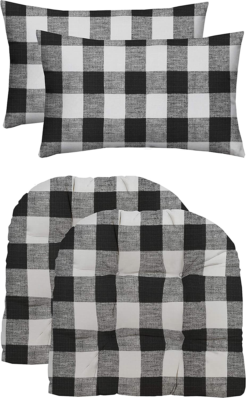 "RSH Décor Indoor/Outdoor Wicker Loveseat or 2 U-Shape Chair Cushions & Bonus Pillows - Choose Color and Size (2 (19"" x 19"") Cushions & 2 (20"" x 12"") Pillows, Black Buffalo Plaid)"