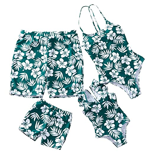 1d53f8fd98 Yaffi Family Matching Swimsuit Women Girl Men Boy One Piece Beach Wear  Flower and Leaves Sporty