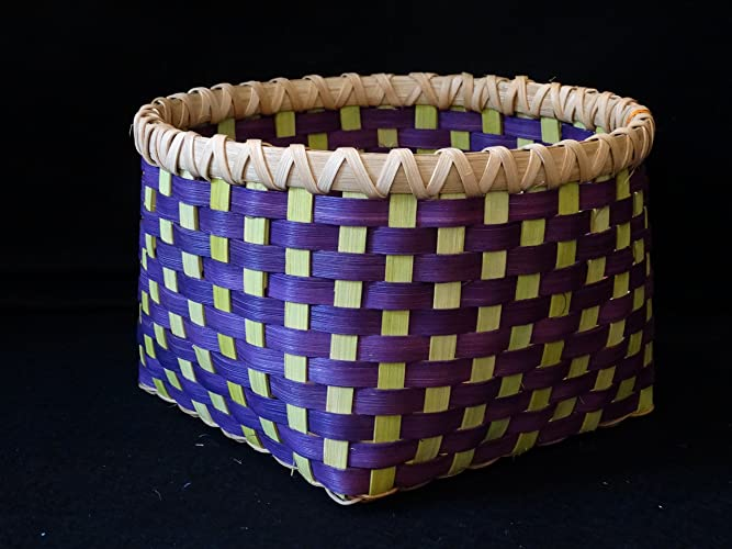 amazon com hand woven basket in chartreuse and purple storage