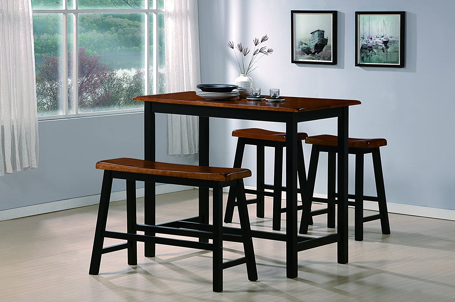 amazon com crown mark tyler 4 piece counter height table set