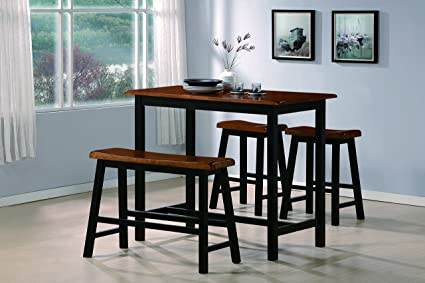 amazoncom crown mark tyler 4piece counter height table set table u0026 chair sets