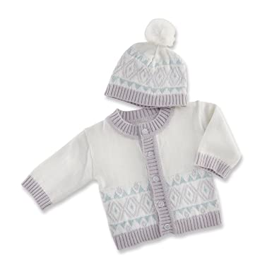 Amazon.com: Bebé Aspen Fair Isle chaqueta de punto y Pom Pom ...