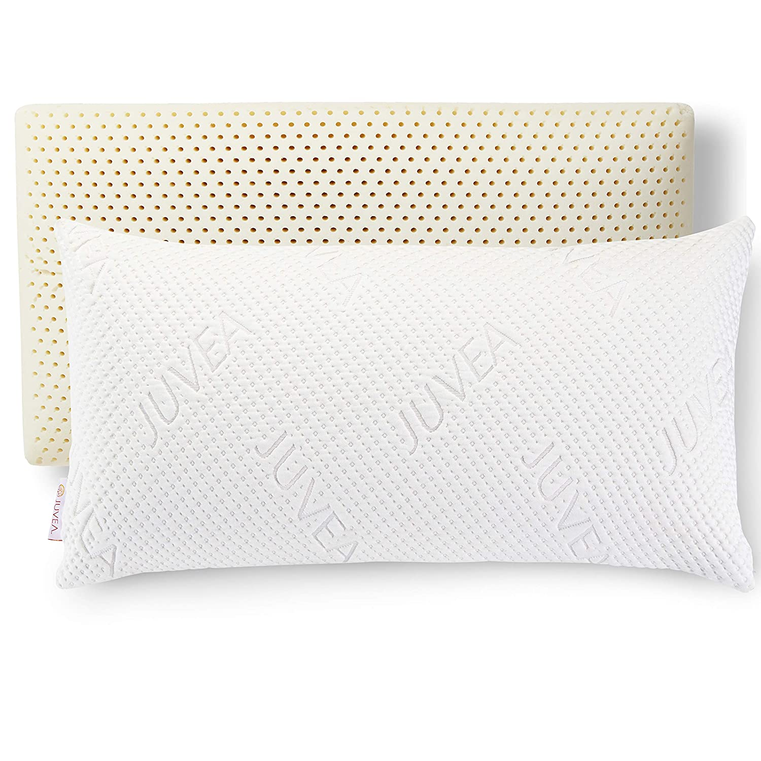 JUVEA 100% Natural, Talalay Latex Pillow, Ultra-Soft Luxurious Tencel Lyocell Brand Cover, Best Pillow to Support Head and Neck, King High Profile, Ideal for Side and Back Sleepers – Made in USA