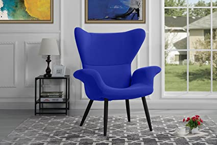 Contemporary Velvet Accent Armchair, Futuristic Style Living Room Chair (Royal  Blue)