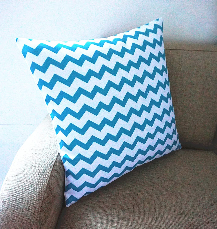 Howarmer Cotton Canvas Aqua Blue Decorative Pillows Cover Chevron, Whales, Sea Horse, Sea Stars Set of 4 Beach Theme