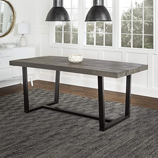Amazon Com Walker Edison Andre Modern Solid Wood Dining Table 72 Inch Grey Table Chair Sets