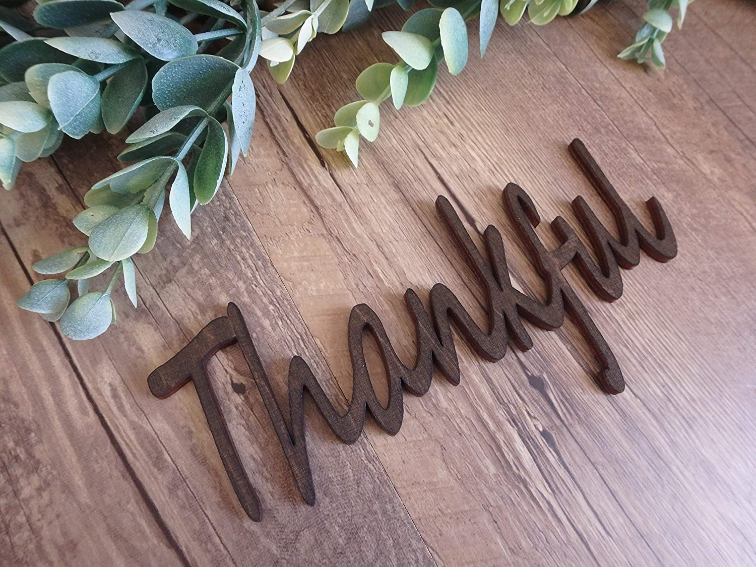 Thankful stained wood cutouts fall plate decorations