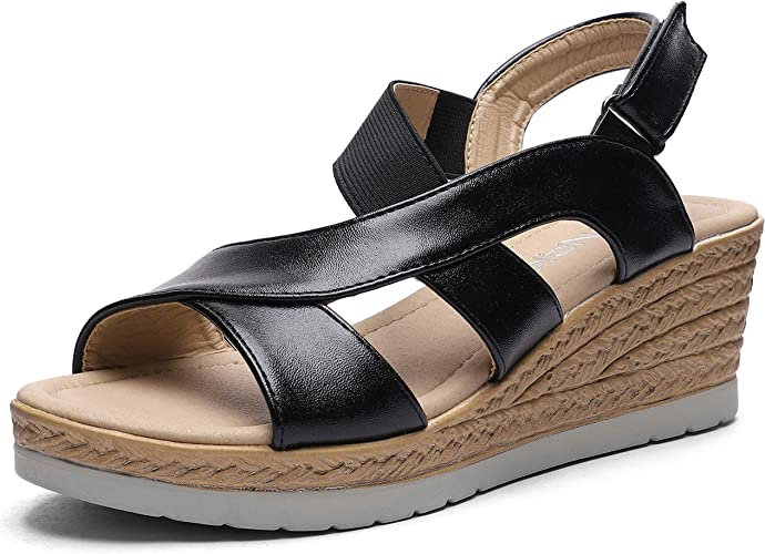 Womens Low Wedge Comfort Sandals Strappy Mules Ladies Summer Wedges Shoes Size