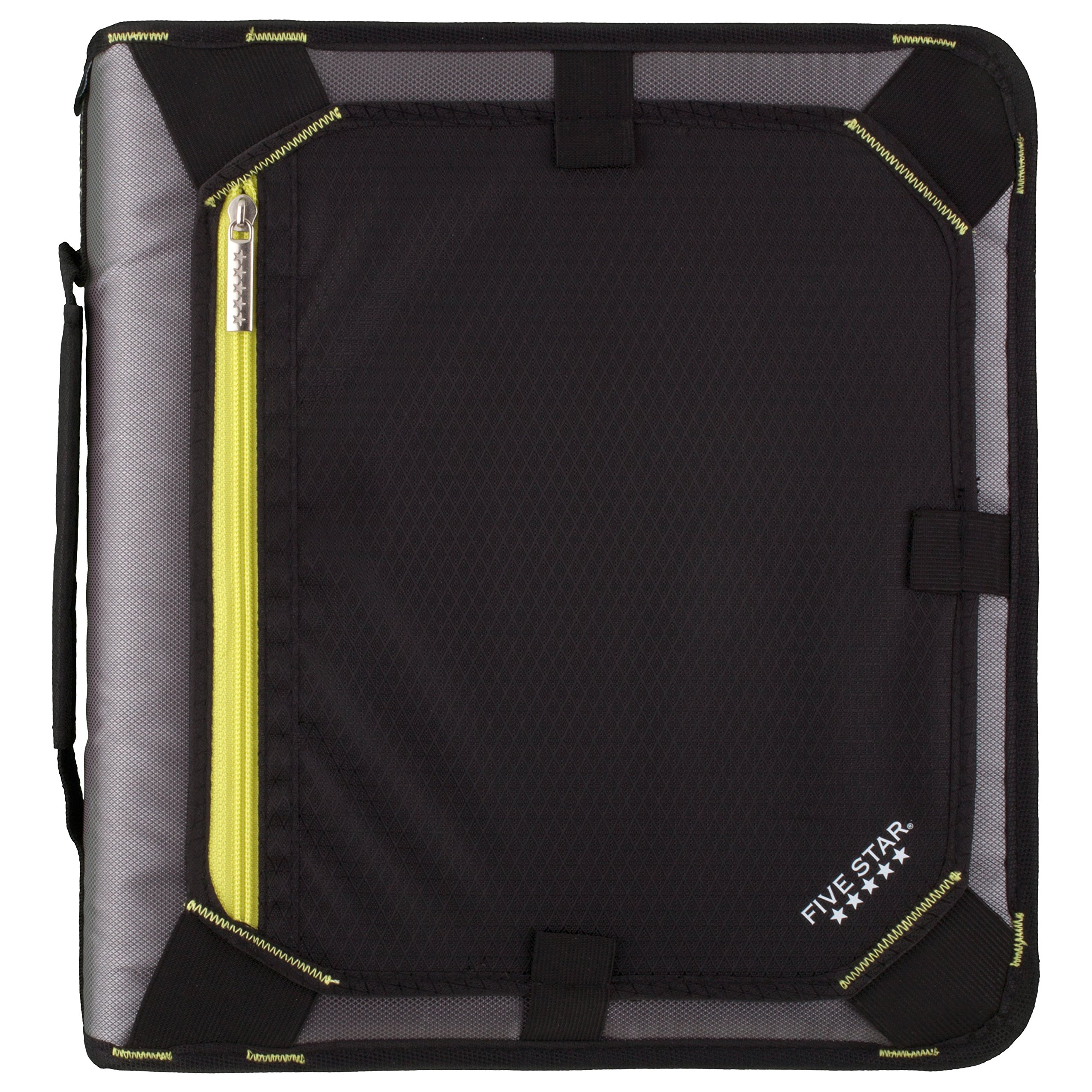 Five Star Zipper Binder, 2 Inch 3 Ring Binder, Expansion Panel, Durable, Black/Yellow (29052BB7) by Five Star
