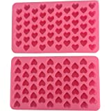 iHomeSpace Silicone Mini Heart Shape Ice Cube Candy Ice Cube / Chocolate Mold Pink Pack of 2